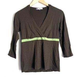 Ibex brown merino wool 3/4 sleeve hooded top